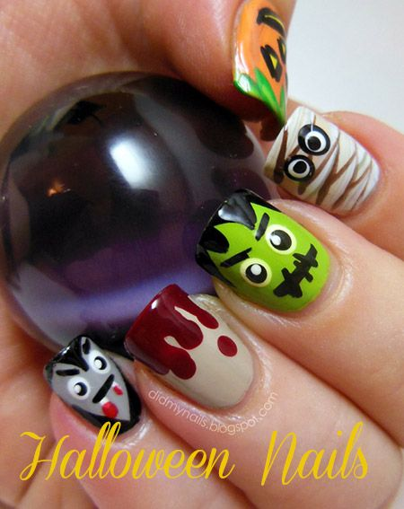 Easy DIY Halloween Nail Art Designs  #naildesigns #nailart #halloweennails