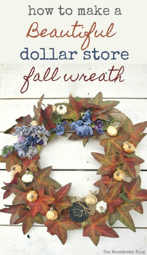 Dollar Store has no fall decor?  Make your own fall wreath by upcycling a vine and squash. Easy crafts done frugally.