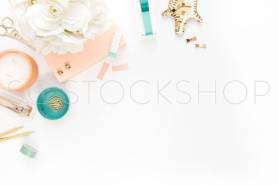 Styled Stock Photography   Peach,Teal and Gold Styled Partial Desktop   Product Photography   Digital Image