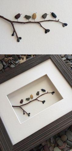 Pebble Art : Creating Powerful Imagery Through Pebbles   DIY craft idea for a cute home decor wall piece