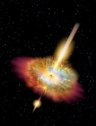 Hypernova - Gamma rays burst from either pole of a shattered star undergoing a hypernova explosion.  Don Dixon, 2005.