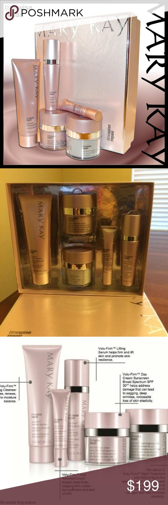 Mary Kay Timewise Repair Set Mary Kay Timewise Repair Set comes with Volu-Firm Foaming Cleanser, Volu-Firm Lifting Serum, Volu-Firm Day Cream Sunscreen Broad Spectrum SPF 30, Volu-Firm Eye Renewal Cream, & Volu-Firm Night Treatment with Retinol. Mary Kay Makeup