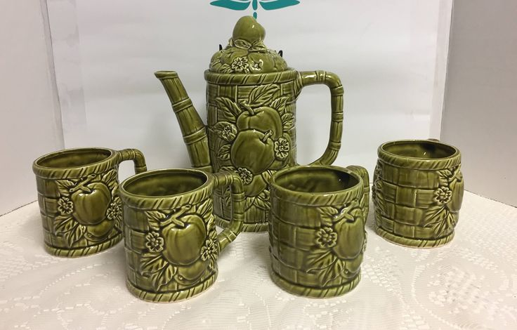 Green Coffee Pot, with 4 Mugs, Japan, Vintage, Fruit Pattern, Retro Decor, Made in Japan, Vintage Tea Pot, Vintage Coffee Pot, Tea Pot, Mugs by TheDragonflysParlor on Etsy