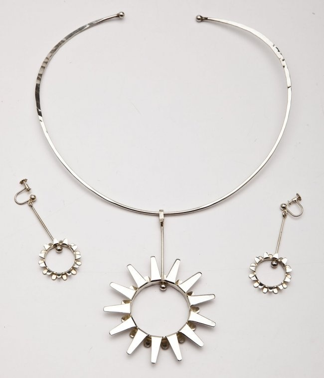 Anna Greta Eker Modern Sterling Collar & Earrings