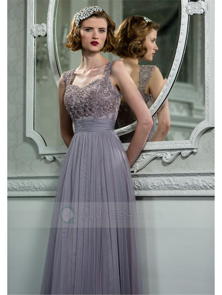 Buy A-line Sweetheart Floor-Length Tulle Bridesmaid Dress with Appliqued Beaded - QQdress.com