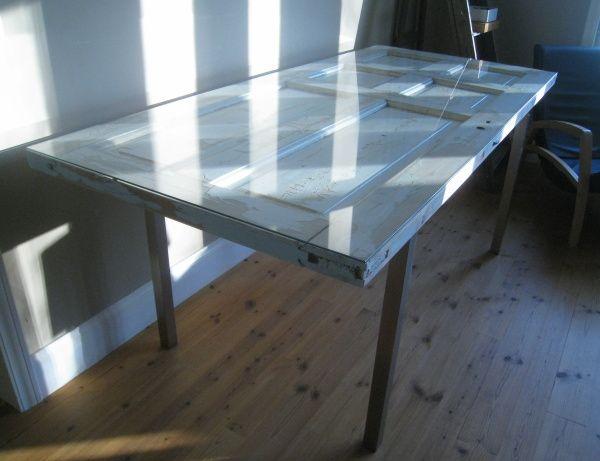 Bildresultat för skrivbord av gammal dörr glasskiva