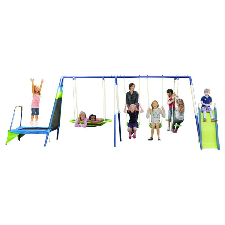 Encourage the kids to enjoy playing outdoors with the Sportspower Mountain View Metal Swing, Slide, and Trampoline Set! Kids can swing to their heart's content with 2 classic swing seats or a Roman glider with 2 seats and footrests. The patented 2-person flying saucer allows kids to lie down and swing at the same time, making it perfect for gazing at those fluffy white clouds on a beautiful day. For those looking for a little more action, the 6-foot blow molded wavy slide offers a thrilli...