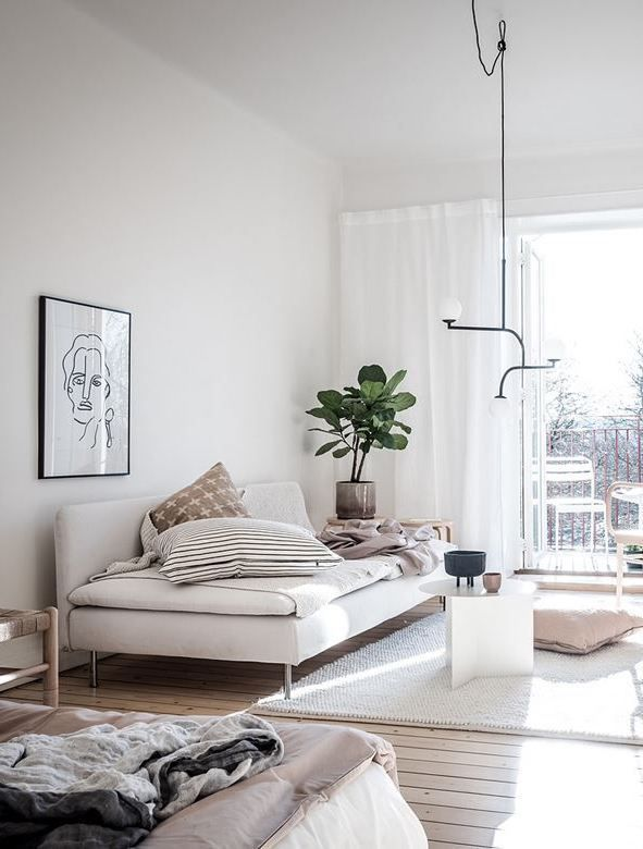 Bedroom and living room combination | Small room design ...