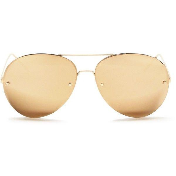 Linda Farrow Half rim metal mirror aviator sunglasses ($1,160) ❤ liked on Polyvore featuring accessories, eyewear, sunglasses, metallic, mirrored aviators, mirror glasses, mirror aviator sunglasses, mirror aviators and mirrored aviator sunglasses