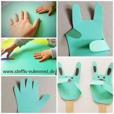 Basteln mit Kindern , Kita, Krippe, Kindergarten , Basteln für Kinder , Handabdruck, Hase, Osterhase, Hand , Bunny Easter bunny