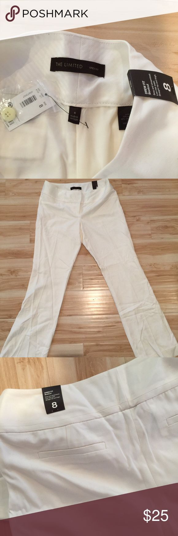 NWT The Limited Winter White Slacks Never worn, Drew style, lined, winter white slacks. The Limited Pants Boot Cut & Flare