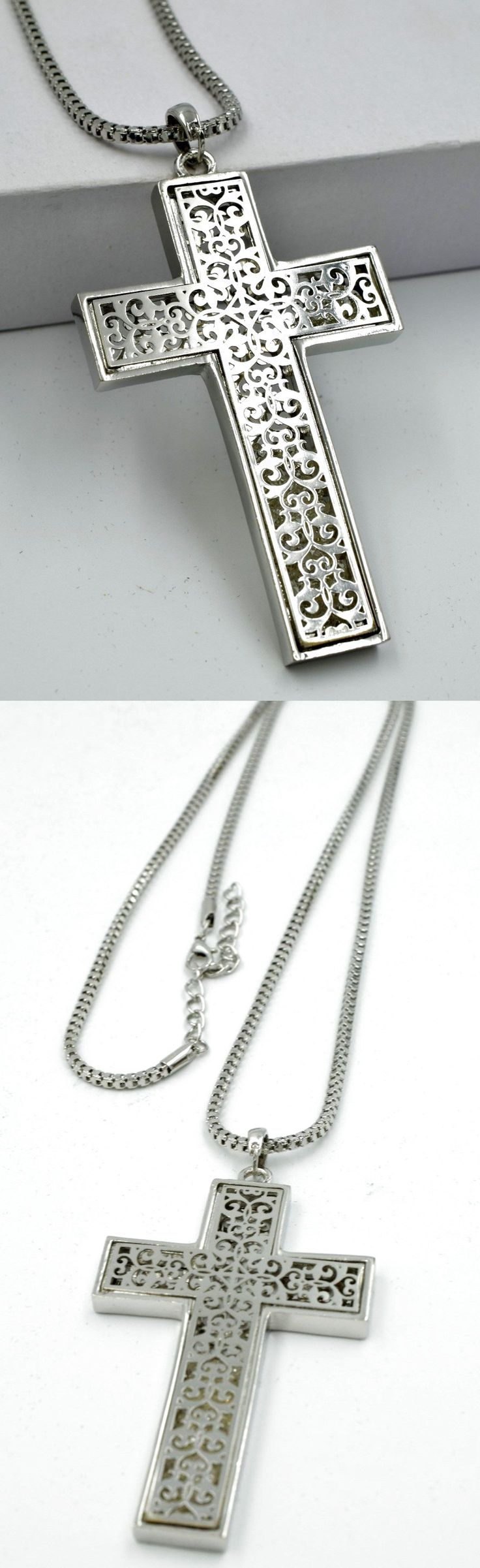 New Men Fashion Big Silver Cross Filigree Pendant Charm Long Chain Necklace ND27 $10.99