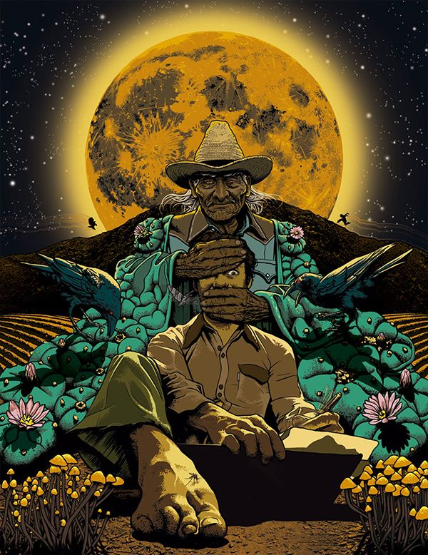 Carlos Castañeda became famous as the author of a series of books, starting with The Teachings of Don Juan in 1968, supposedly relating his training in shamanism by a Yaqui sorcerer. The books include experiences with several drugs, including peyote, jimsonweed, and mushrooms. Though they were considered true-to-life anthropological reports at first — and even earned him a Ph.D from UCLA — Castañeda's books are now generally considered fiction.