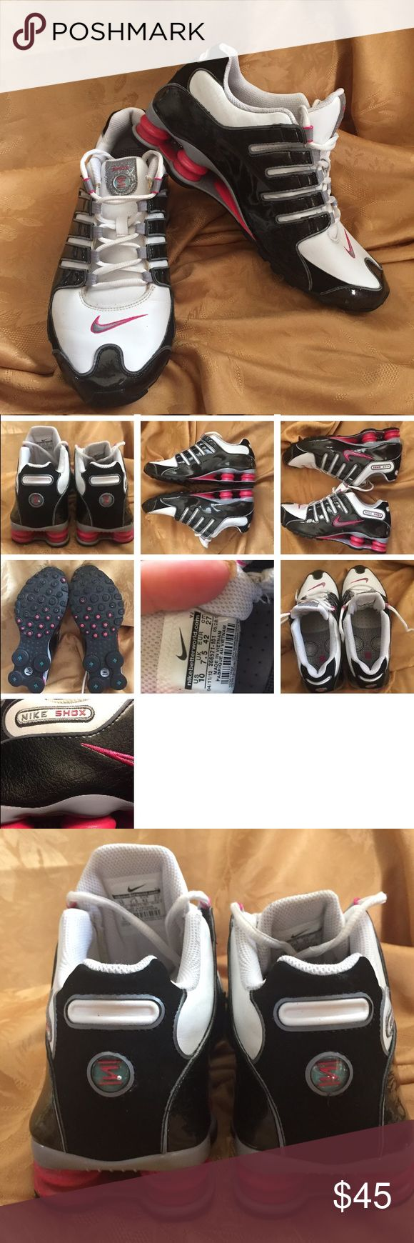 Nike Shox leather Running Shoes Womens Nike Shox NZ 366571-101 Running Shoes Womens 8 Black White Pink Fuschia Nice white leather with a black clear coat over a black leather look with fuchsia shox GREAT CONDITION WITH SIGNS OF NORMAL WEAR Nike Shoes Sneakers