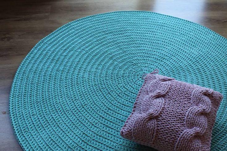 Dywan ręcznie tkany, okrągły, Miętowy