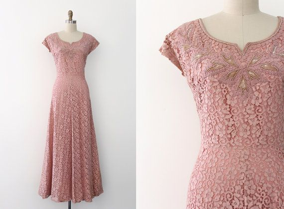 vintage 1940s gown // 40s pink lace evening gown by TrunkofDresses