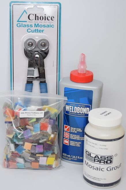 Mosaic Tile Mania starter kit. Save 10% by buying it here! Mosaic Nippers, Weldbond Glue, Grout & 500 Hand Cut, Stained Glass Mosaic Tiles for only $65.28!