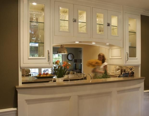 Low kitchen dining room passthrough   Transitional Island Style Cream  kitchen  white cabinets   50 000. 28 best Pass through over cooktop images on Pinterest