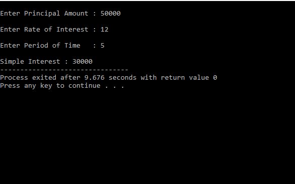 PROGRAMMING WITH C, C++ & JAVA: C program For Calculate Simple Interest