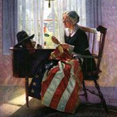 "Norman Rockwell's cover illustration for the Literary Digest celebrating Memorial Day, 1922, entitled ""Mending the Flag."": Holiday, Rockwell Art, Art Rockwell, Rockwell 1894 1978, Flags, Blue, Art Norman Rockwell, Illustration"
