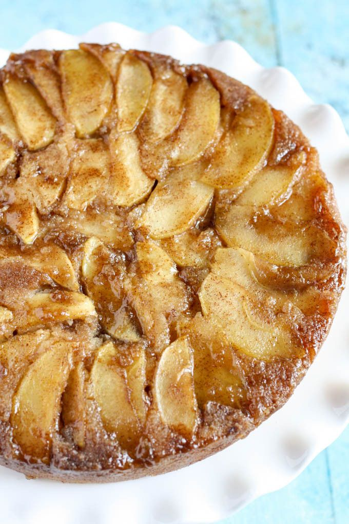 Caramel Apple Upside-Down Cake - A sweet and moist cake that's perfect for Fall!