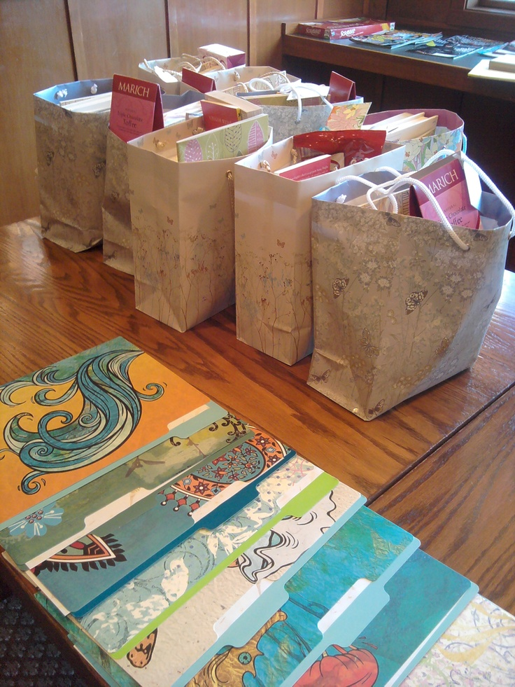 Gift bags of reading and writing materials. Books we included are Writing Alone and with Others, The Art of Slow Reading, and Write Like This. Everyone had a collection of books individualized to their tastes, needs, and writing style by the retreat coordinators.