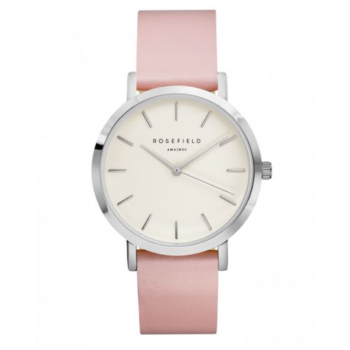 Silver ladies watch Gramercy - pink leather strap | ROSEFIELD Watches