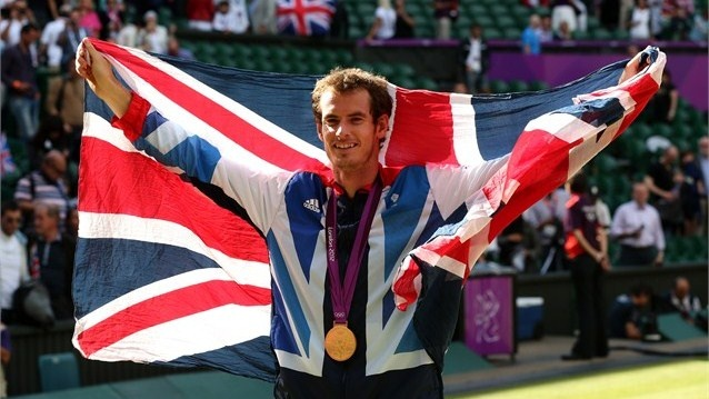 Gold medallist Andy Murray of Great Britain celebrates during the medal ceremony for the Men's Singles Tennis match