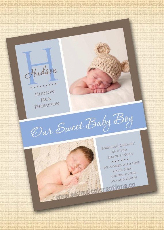 Baby Boy Birth Announcement Digital File Hudson  I by cmalinowski3, $14.99