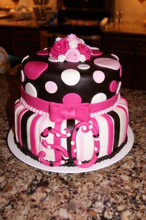 This is a pink, black, and white birthday cake for a