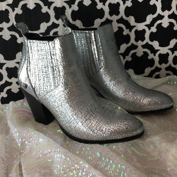 LISTING Zadig & Voltaire Silver Boots Only wore once. Bought from another posher. They are too big and I am bummed. Very, very edgy and cute. 100% leather Jermaine Metallic Boot Zadig & Voltaire Shoes Ankle Boots & Booties