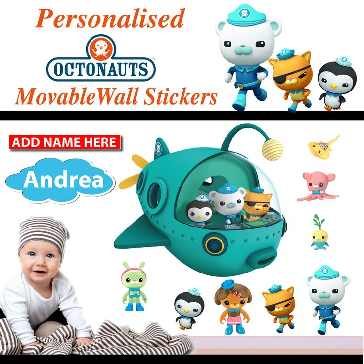 Wholesale Printers,  - Personalised Octonauts Wall Stickers - Totally Movable, $9.95 (http://www.wholesaleprinters.com.au/personalised-octonauts-wall-stickers-totally-movable/)