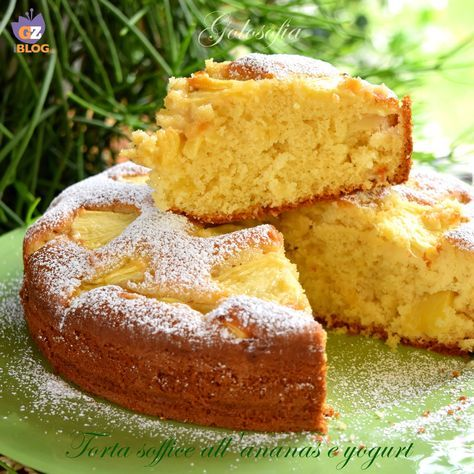 Torta soffice all'ananas e yogurt, molto buona e delicata, è un dolce perfetto per l'estate! senza burro e pochi zuccheri, renderà la giornata dolcissima..