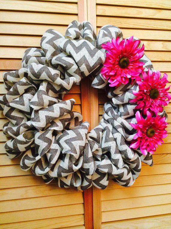 SPRING wreath, Valentines Day Decor,Chevron Burlap Bubble Wreath , Grey Chevron burlap wreath with floral accent, All Seasons Wreath