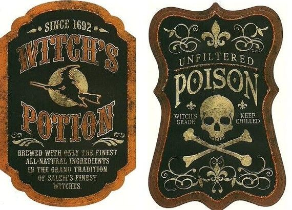 Apothecary labels #Halloween ->link doesn't work, but the labels are great inspiration!