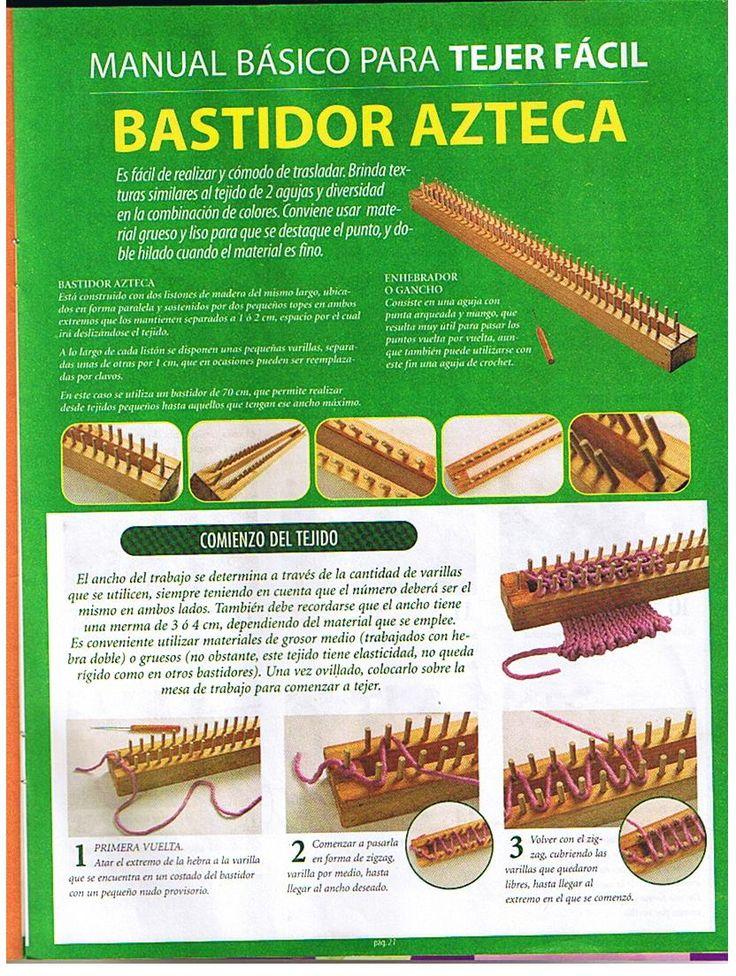 Loom knitting stitches page 01♥LLKT♥ Bastidor-azteca