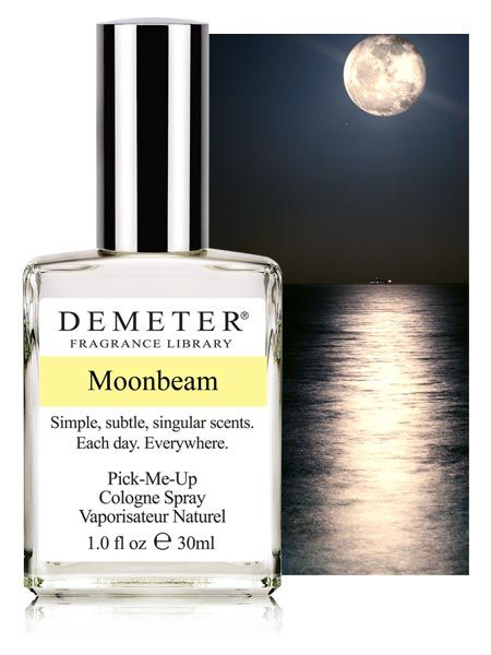 """Moonbeam - A fascinating and unique """"foody floral"""" that opens with Vanilla and Chocolate, then combines with green leaves, Jasmine, Lily of the Valley, Amber and precious Woods, Demeter's Moonbeam captures the dual nature of the moonbeam, reflecting elements of both the innocence of light and the passion of night. Some have remarked slight masculine tone, might make it interesting"""