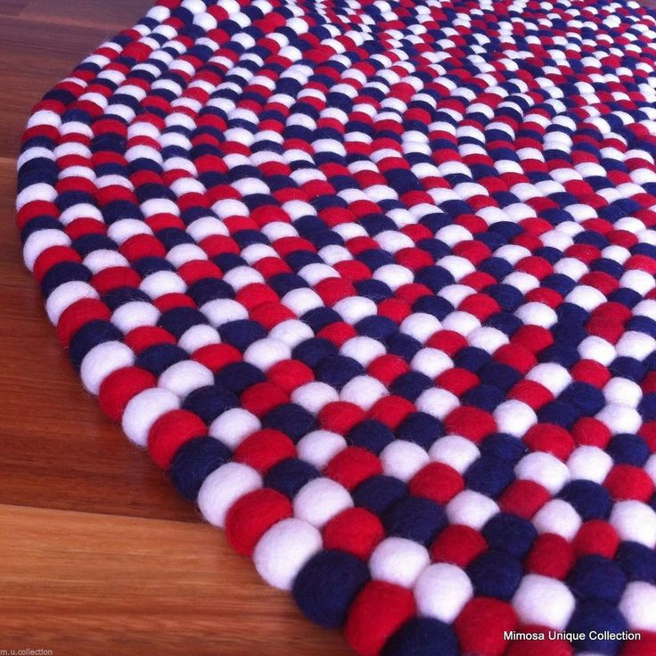 Navy Dotted 90cm Handmade 100% Wool Colorful Freckle Felt Ball Rug Made to Order in | eBay