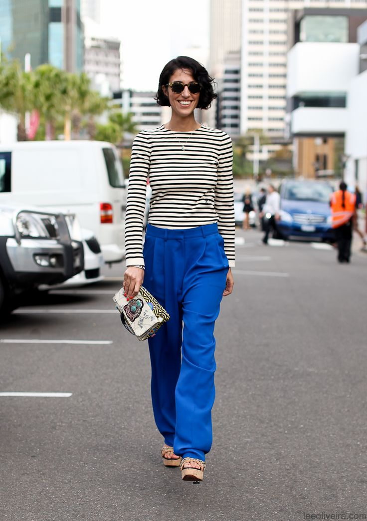 Yes!: Style Inspiration, Outfit Inspiration, 3 Yasmin Sewel, Blue Pants, Stripes Tops, Royals Blue, Fashion Inspiration, Electric Blue, Fashion File