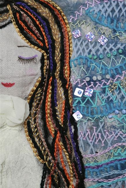 chain stitch hair: Chains Stitches, Hair Embroidery, A Embroidery, Crosses Stitches, Embroidery Stitches, Embroidery Inspiration, Stitches Hair M Taylors, Photo, Embroidery Beautiful