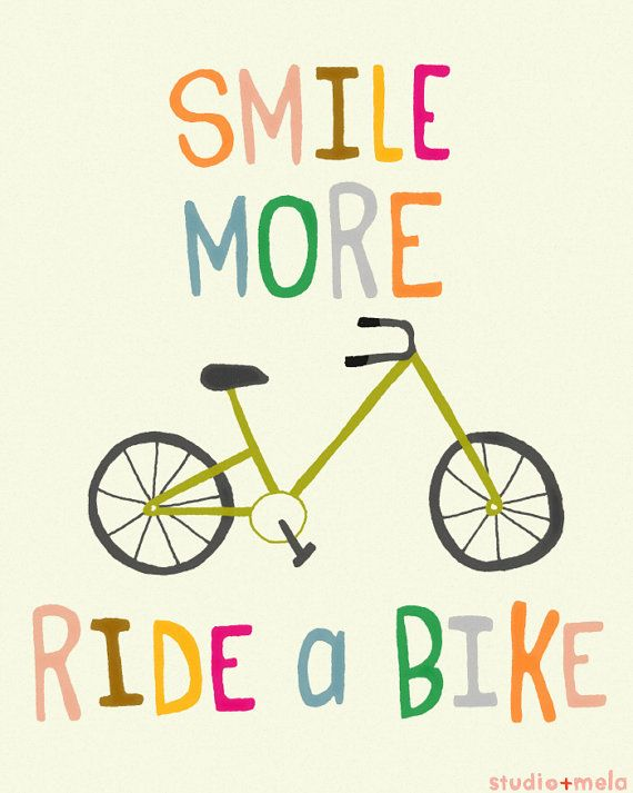 Typography Illustration Print - Children's Wall Art Print - typography art, quote, illustration, bike art - RIDE A BIKE (pinks)