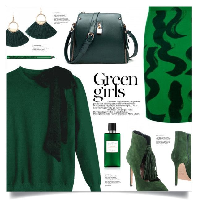 """""""Monochrome: Green Girls"""" by mahafromkailash ❤ liked on Polyvore featuring Anna F., Green Girls and NYX"""