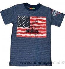 Knot So Bad donkerblauw gestreept t-shirt met applicatie van de Amerikaanse vlag