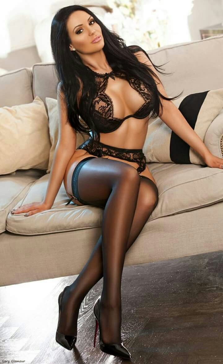 girl naked black nylons