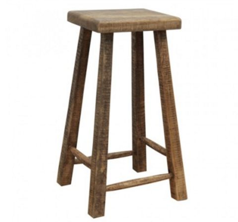 Loft High Square Timber Stool - Rustic