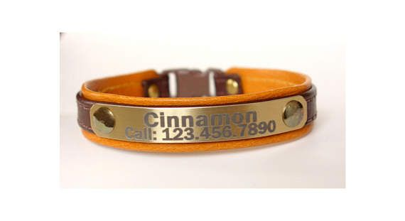 Leather cat collar for cats and kittens personalized with