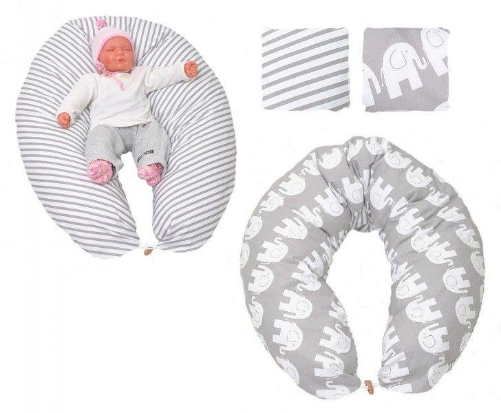 Stillkissen in verschiedenen Farben von HOBEA-Germany - Modell Elefanten  Stillen Stillzubehör Schwangerschaft Seitenschläferkissen Baby Lagerungskissen Elefant grau