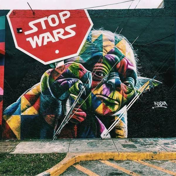 Остановите войны стрит-арт, Граффити, Рисунок, Миру мир!, star wars, Йода, Нет войне, кликабельно