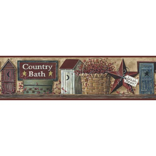 Roommates better homes and garden country bath border for Country wallpaper borders