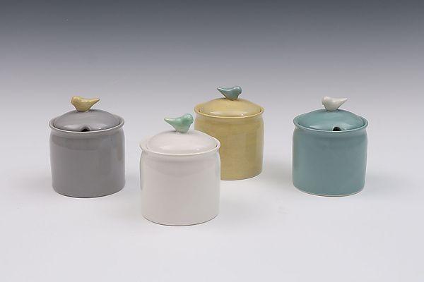 Jam, Honey, or Sugar Jar with Bird: Whitney Smith: Ceramic Jar | Artful Home